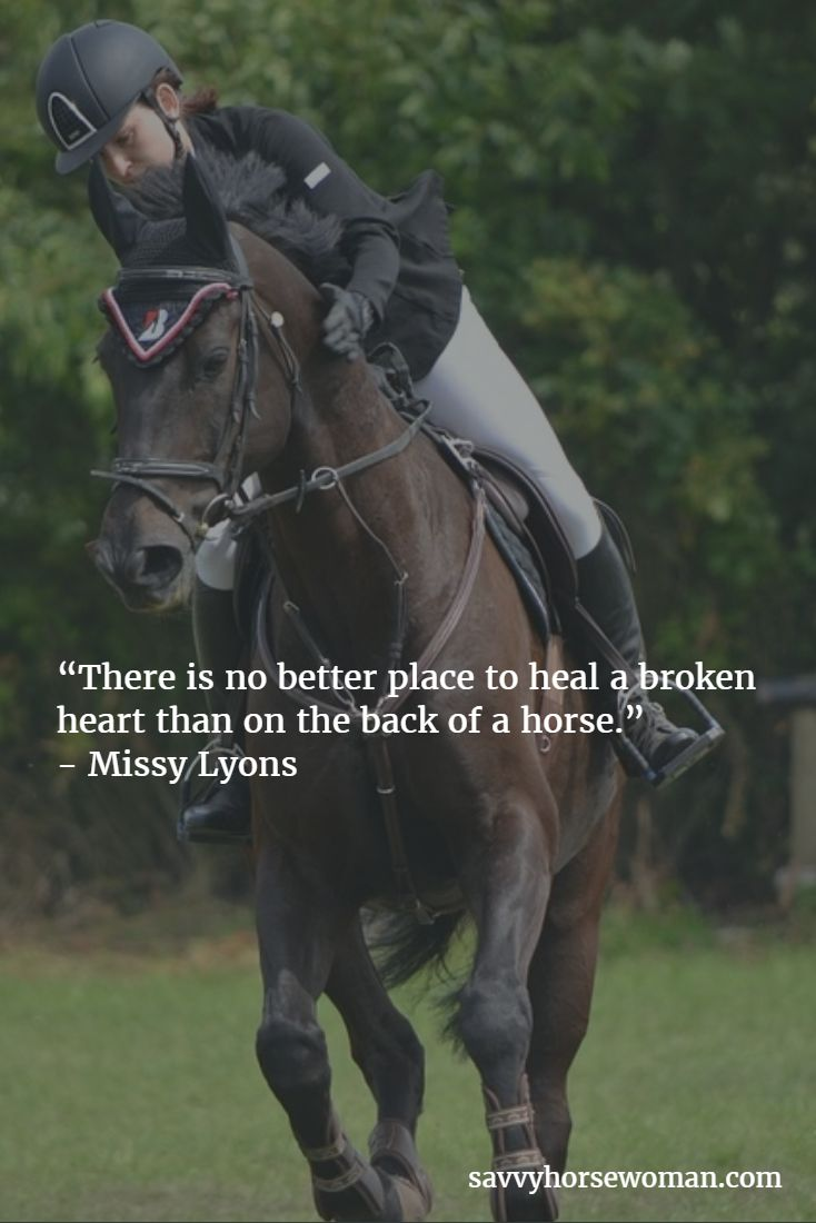 """There is no better place to heal a broken heart than on the back of a horse.""  - Missy Lyons"