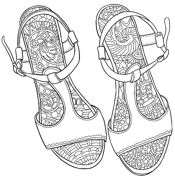 Sandals Coloring Page Colormattersapp Coloring Pages Adult