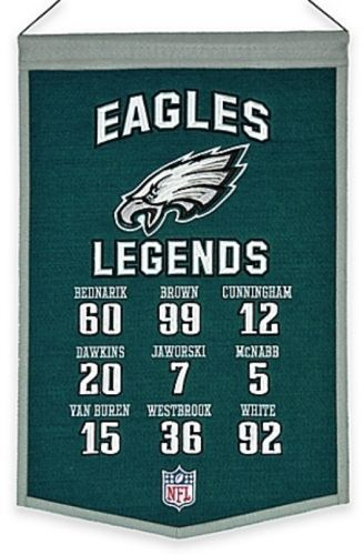 Philadelphia Eagles NFL Legends Banner Legendary Players Numbers Names Man Cave