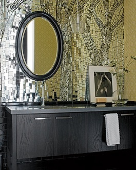 I'm not that big on mirrors everywhere, but this is neat. Bathroom backsplash mosaic from recycled mirror bits