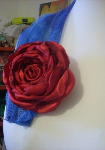 Rosa rossa per capelli *raso lucido* - Red Rose Hair * satin *