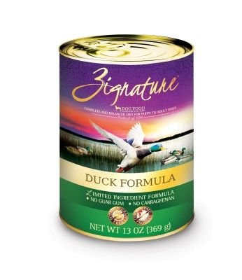 ZIGNATURE CANNED DOG FOOD - ZIGNATURE DUCK - 12/13OZ - Pets Global - UPC: 888641131280 - DEPT: OTHER PET FOODS
