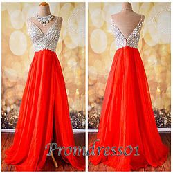 #promdress01 prom dresses - 2015 cute red chiffon v-neck sode slit long prom dress for teens, ball gown, graduation dress