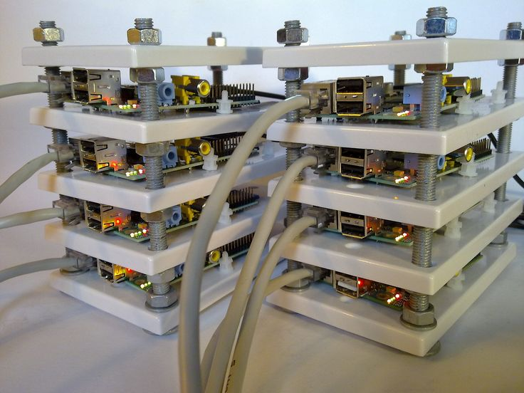 A Raspberry Pi server cluster with eight nodes