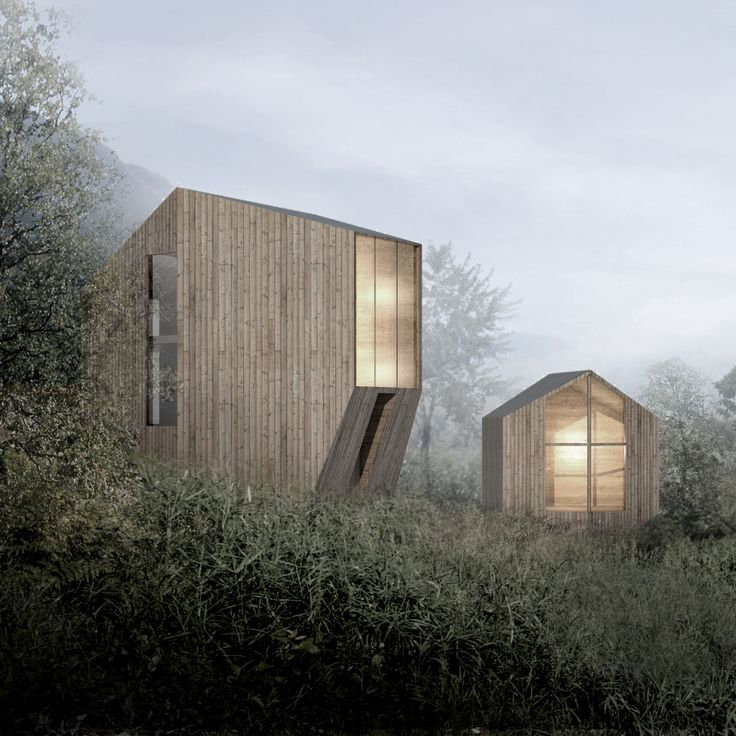 These atmospheric renderings reveal designs by Oslo-based Reiulf Ramstad Arkitekter for a pair of angular holiday cabins in the Norwegian countryside.
