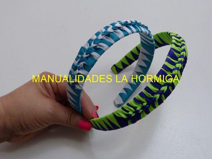 Como hacer Diadema Tejida Nudos Ysabel Pap, # 516, Vinchas doble color t...