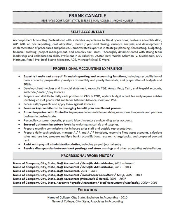 staff accountant resume example summary template objective