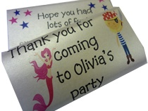 Pirate and Mermaid Party .... get personalised chocolate bars for thank yous