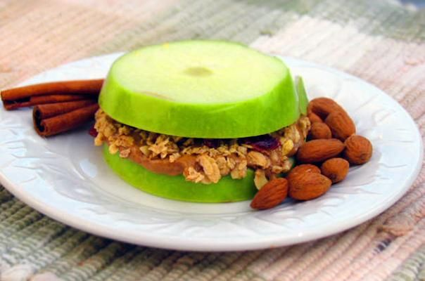 Granola Apple Sandwiches... this is really yummy. I usually slice the apple
