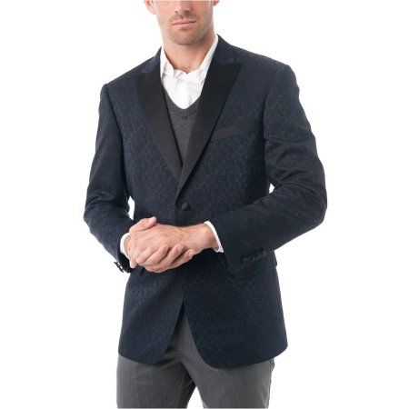 Big Men's Navy Blue Textured Tuxedo Jacket with Satin Peak Lapel, Size: 44R