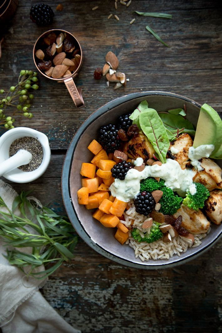 lunch bowl with  sweet potato + chicken + avocado