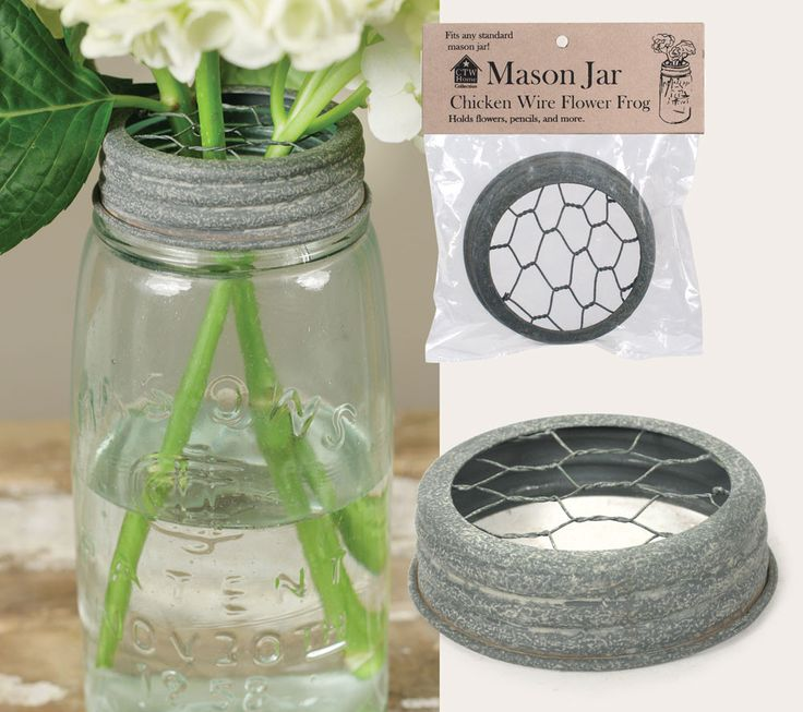 "3"" dia. lid will fit any standard Mason jar. Jar is not included.  Chicken wire inserted into canning jar lid for flower frog; Upcycle, Recycle, Salvage, diy, thrift, flea, repurpose, refashion!  For vintage ideas and goods also shop www.estate2.etsy.com"