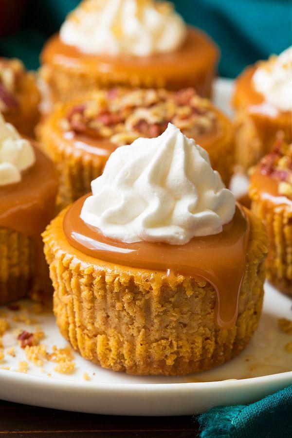 Pumpkin Cheesecake Cupcakes with Salted Caramel Sauce!!