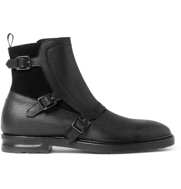 Alexander McQueen - suede and grained-leather monk strap/zip boots