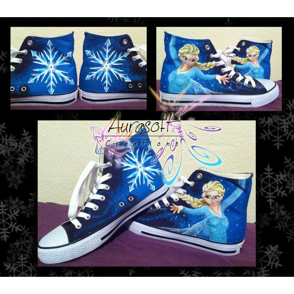Custom Painted Converse Style Disney Frozen Shoes ($132) ❤ liked on Polyvore featuring shoes, disney, converse, waterproof shoes, water proof shoes, waterproof footwear, checkered shoes and water resistant shoes