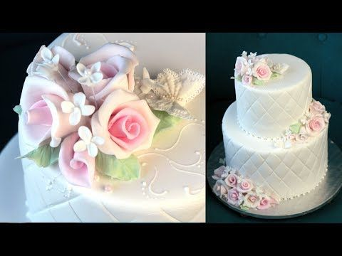 Orchideli -  elegant two tiered wedding cake with pastel roses. Cake for first communion, baptism cake.