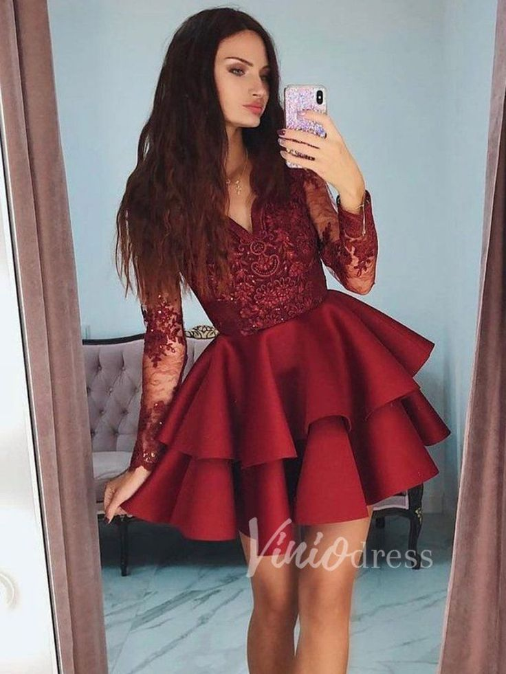 Burgundy Lace Homecoming Dresses with Long Sleeves SD1186 Dark red short party d…