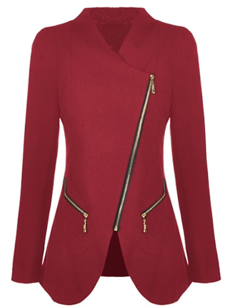 Red Long Sleeve Oblique Zipper Pockets Coat