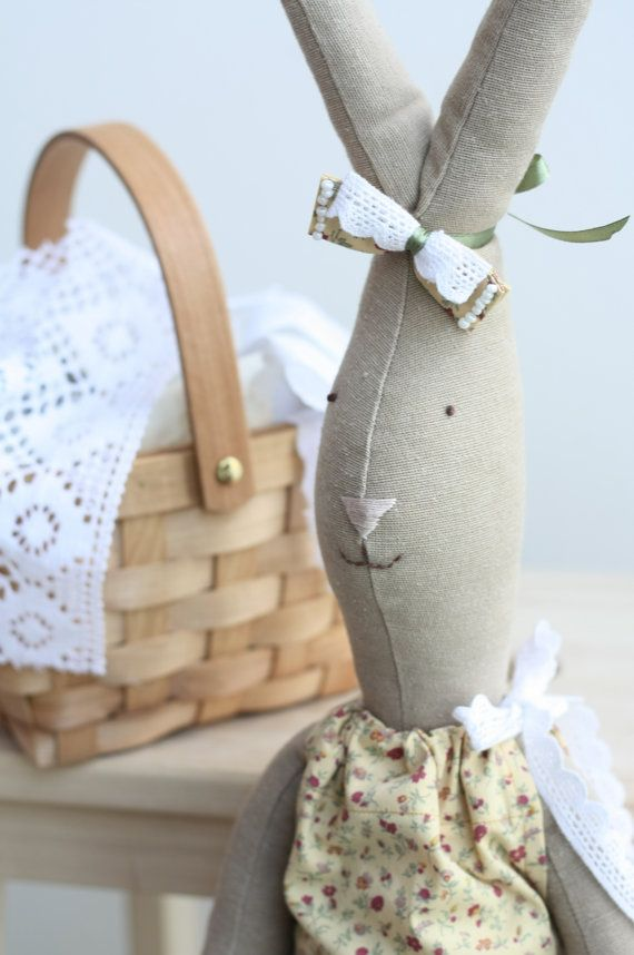 Stuffed cute bunny doll Handmade fabric doll by dearblueberryshop, €37.00