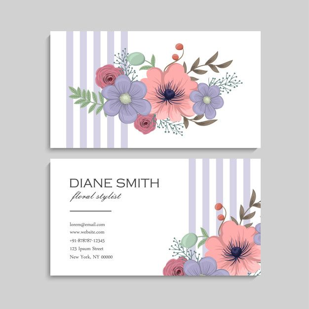 Download Business Card With Beautiful Flowers Template For Free Free Printable Business Cards Beauty Business Cards Vector Business Card