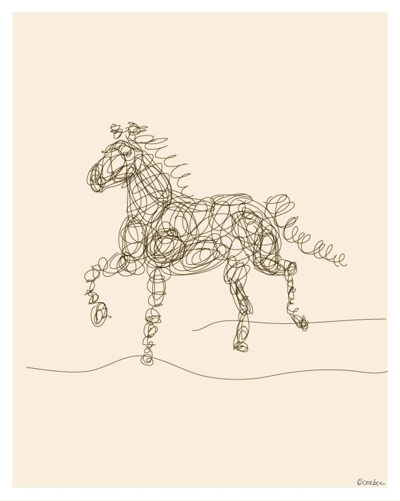 Horse Line Illustration  Simple by ModernSouth on Etsy, $18.00