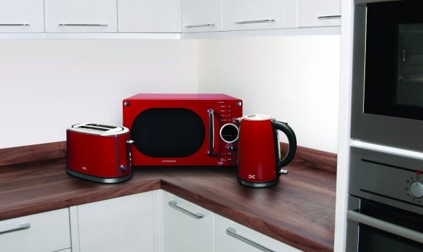 Make a stylish color accent with red microwaves | Modern Kitchen Furniture Photos, Ideas & Reviews