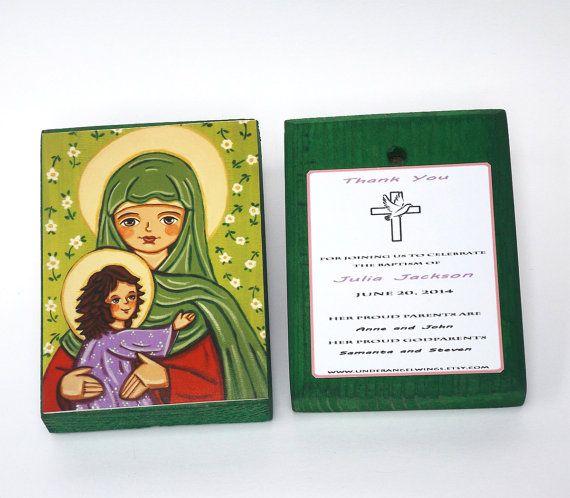 St Elizabeth Wood block print Saint Elizabeth print on wood St Elisabeth John Baptist Baptism favors boy Christening favors Baptism gift boy