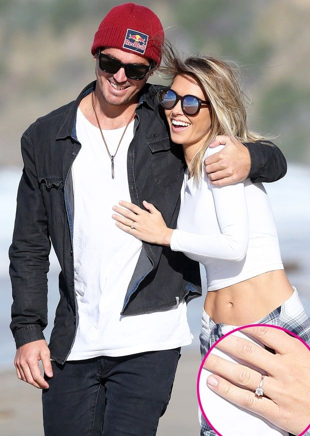 Audrina Patridge flashed her new diamond engagement ring from fiancé Corey Bohan while on a stroll with her beau in Laguna Beach, Calif., on Monday, Nov 30, 2015.