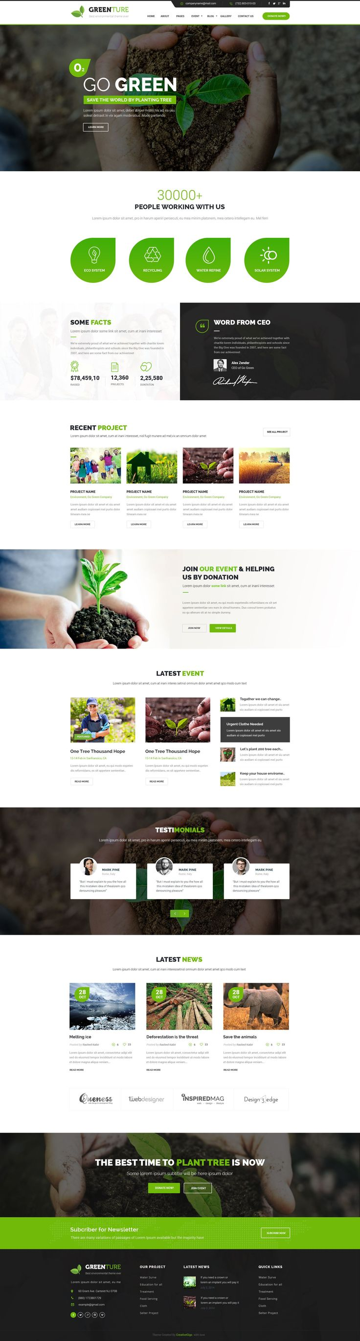 Greenture is professional, modern crafted PSD template which can be used for #Eco, #Environment, #Nature and related to NGO & Environment #website.  Here you will get 21 layered #PSD with easily customizbale layer with pixel perfect design With 3 different Home version.