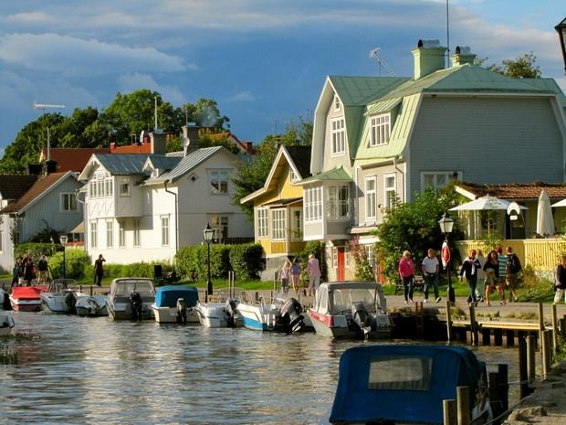 Trosaån i kvällsljus - Bilder Trosa, Sverige, Sweden