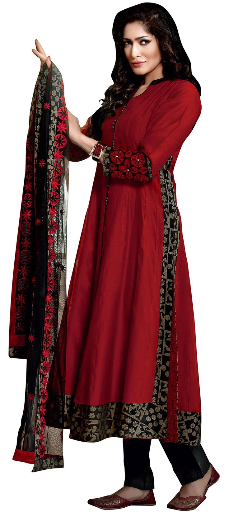 Buy Online from the link below. We ship worldwide (Free Shipping over US$100). Product SKU - VIR478 .Product Link - http://www.kalkifashion.com/red-anarkali-suit-adorn-in-resham-patch-embroidery.html