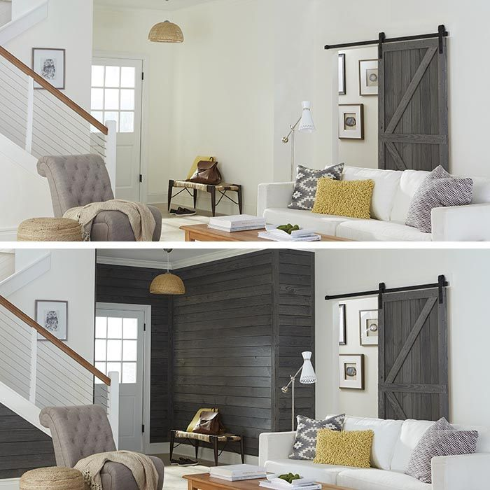 Rustic Prefinished Shiplap Wall Planks To Get That Reclaimed Wood Look.  Pictured In Cottage:
