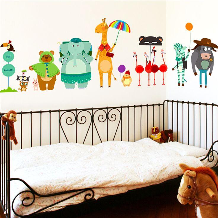Elephant Bear Zebra Giraffe Wait For Bus Cute Animal City Wall Stickers Sticker Decorative Home Decor For Kids Baby Nursery Room #Affiliate