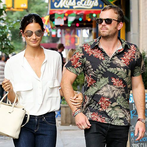 """Star Tracks: Wednesday, July 9, 2014   PRETTY PERFECT   Model Lily Aldridge and her handsome hubby, Kings of Leon's Caleb Followill, glam up N.Y.C.'s East Village neighborhood after lunch at a local restaurant – appropriately called """"Miss Lily's""""! – on Tuesday."""