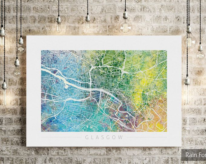 Glasgow Map Scotland Glasgow City Street Map Art Print