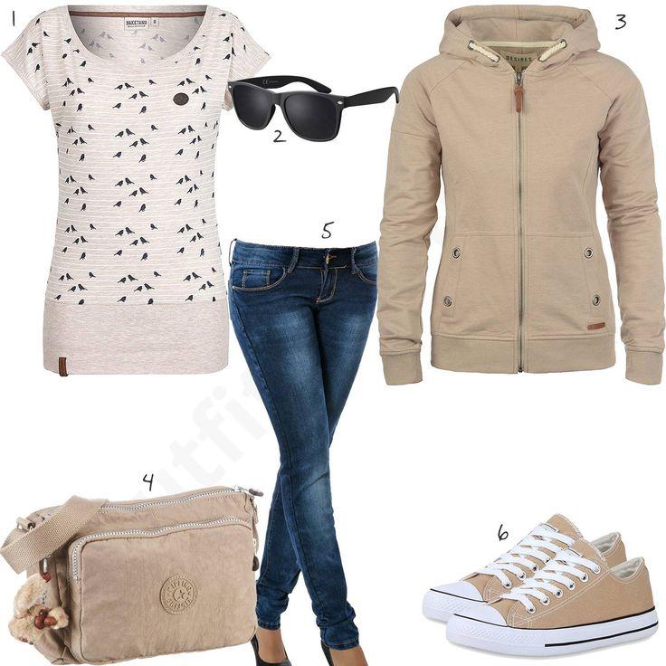 Schickes Damen-Outfit mit Desires Hoodie, schwarzer Sonnenbrille, blauer Jeans, beigen Sneakern, Kipling Handtasche und Naketano Shirt. #outfit #style #fashion #handtasche #espadrilles #inspiration #pullover #handtassche #sneaker #fashion #damenoutfit #womenswear #clothing #styling #clothes #frauenmode #damenmode