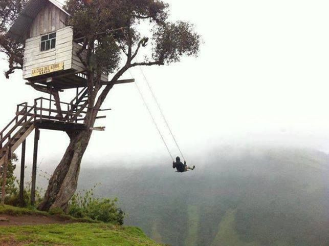 Treehouse in Banos Ecuador. Would you get on this swing???? Not me.