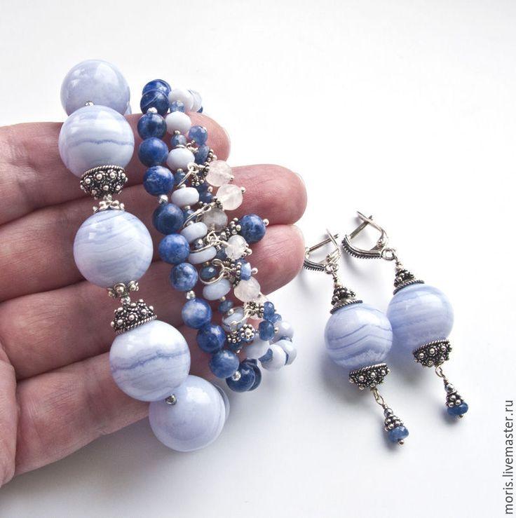"""Купить Комплект из голубых камней """"Сарита"""" сапфирин сапфир серебро... - браслет из камней, браслет с подвесками"""