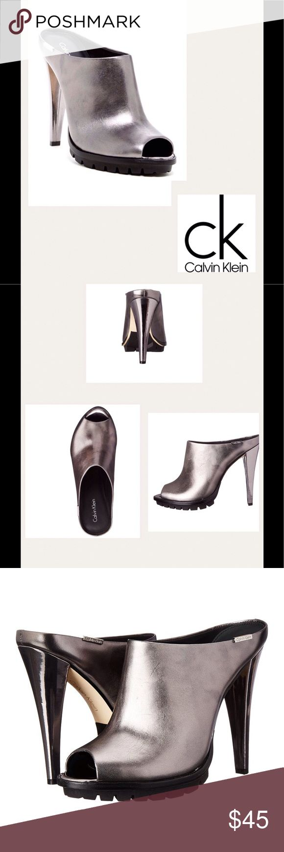 """COMING SOON - CK Lina Antique Leather Mule NEW Calvin Klein leather upper, peep toe, rubber sole, the Calvin Klein slip-ons will dress up your look with effortless style. Sizing: True to size. Hardware logo accent.  Approx. 4.85"""" heel. Calvin Klein Shoes Mules & Clogs"""