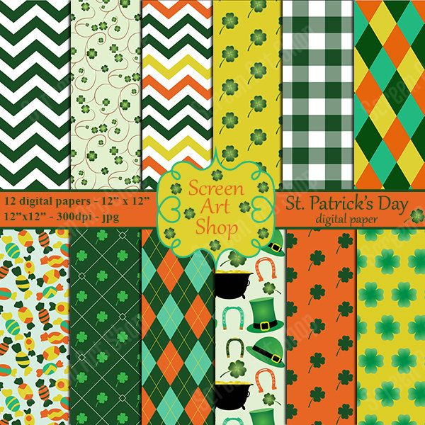 Irish paper, Irish paper pack, St pattys day papers, St Patricks patterns, Shamrock paper by ScreenArtShop on Etsy
