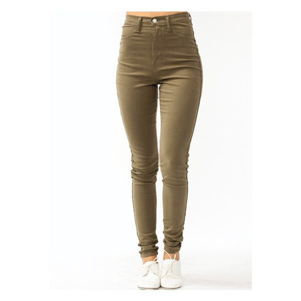 High-Waisted Jeans ($42) ❤ liked on Polyvore featuring jeans, pants, bottoms, calças, high-waisted skinny jeans, highwaisted jeans, brown jeans, high rise skinny jeans and highwaist jeans