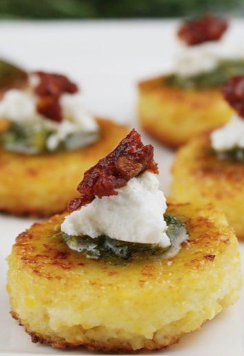 Sundried Tomato Polenta Bites #holiday #appetizer #recipe
