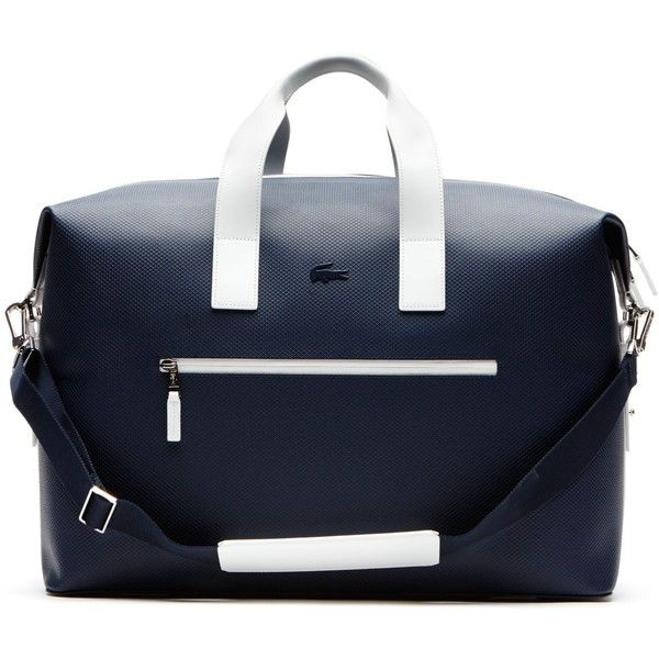 Lacoste Men's Fashion Show Weekend Bag (1.235 BRL) ❤ liked on Polyvore featuring men's fashion, men's bags, bags bags, leather goods, mens leather bags, mens weekender bag, mens leather weekender, mens bags and mens weekend bag