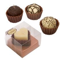 Scented candles that look like chocolates. Cute play food idea just cut the wick off.