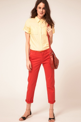 ♥: Red Jeans, Spring Colors, Cute Outfits, Shorts Sleeve Oxfords, Colors Crop, Crop Jeans, Spring Oxfords, Oxfords Shirts, Spring Outfits