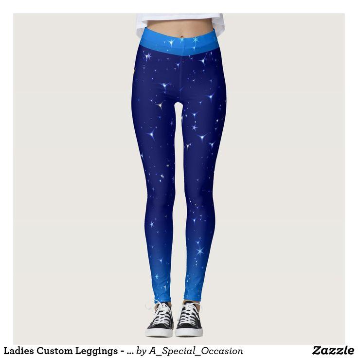 Ladies Custom Leggings - Two-Tone Blue Star Design