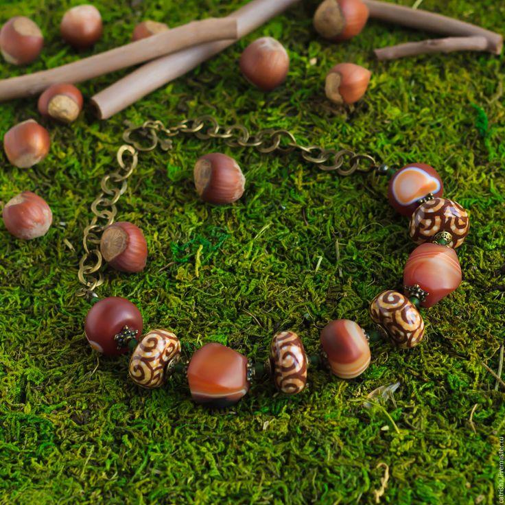 Купить Крупные бусы Беличья радость, сардоникс, орех лес белка рыжий зеленый