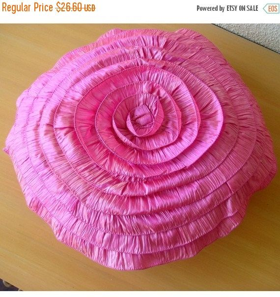 10% THANKSGIVING SALE Vintage Rose - Throw Pillow Covers - 20 Inches Round Silk Pillow Cover with Ruffles