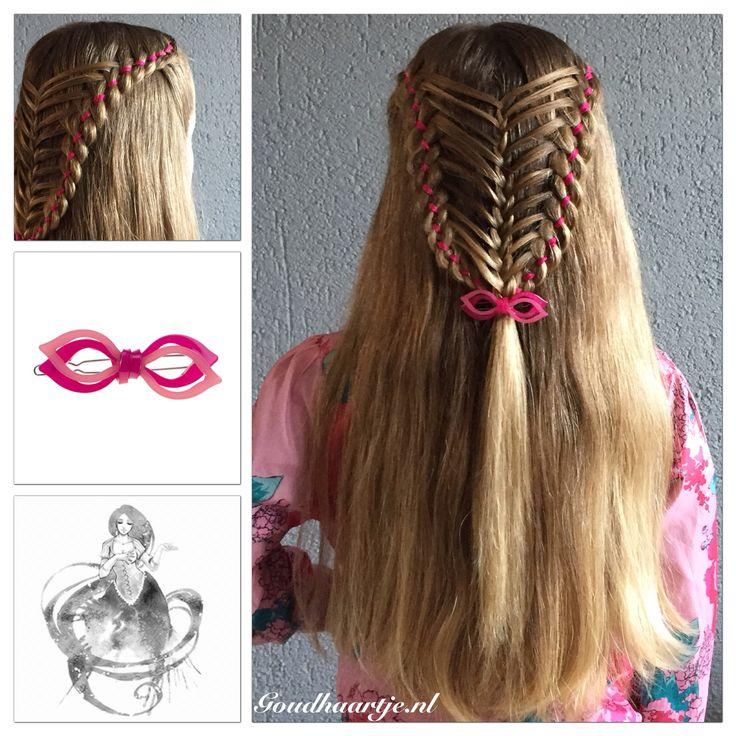 Two four strand feathered ribbon braids with a cute hairclip from Goudhaartje.nl   Hairstyle inspired by: @katharina_braids (instagram)  #hair #hairstyle #braid #braids #ribbonbraid #fourstrandbraid #halfup #hairstylesforgirls #cute #sweet #lovely #hairclip #longhair #beautifulhair #hairaccessories #haar #haarstijl #vlecht #vlechten #haarclip #haaraccessoires #goudhaartje