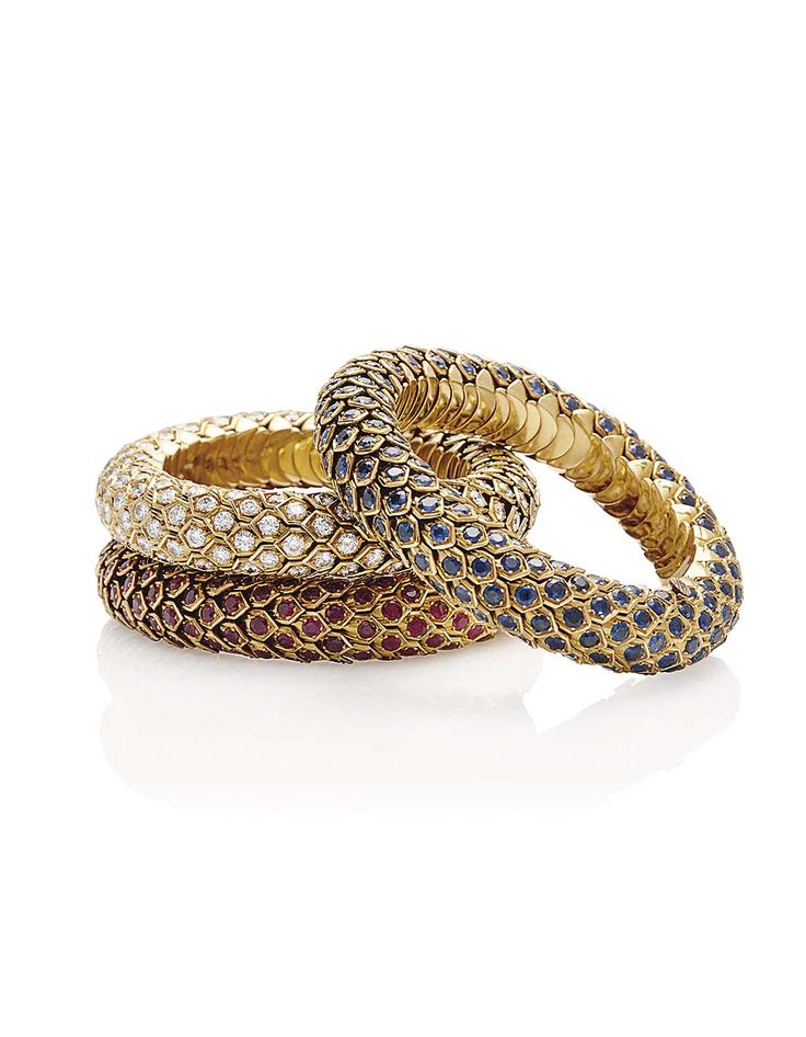 Three sapphire, ruby and diamond Honeycomb bracelets by René Boivin, the property of Madame Hélène Rochas (estimate SFr. 60,000-75,000). Ima...